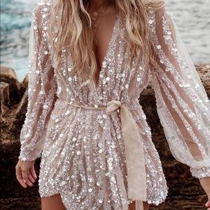 V Neck Sequin Mini Dress NWT